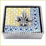 Mariposa Beaded Napkin Box with Fleur-de-Lis Weight