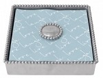 Mariposa Beaded Luncheon Napkin Box with Pearled Weight