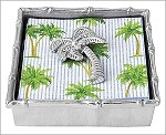Mariposa Bamboo Napkin Box with Palm Tree Weight