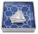 Mariposa Twisted Napkin Box with Sailboat Weight