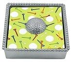 Mariposa Beaded Napkin Box with Golf Ball Weight