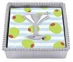 Mariposa Beaded Napkin Box with Cocktail Glass Weight