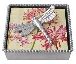 Mariposa Beaded Napkin Box with Dragonfly Weight