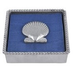 Mariposa Beaded Napkin Box with Scallop Weight