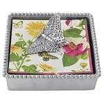 Mariposa Beaded Napkin Box with Butterfly Weight