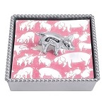 Mariposa Beaded Cocktail Napkin Box with Little Piggy Weight