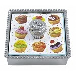 Mariposa Beaded Cocktail Napkin Box with Cupcake Weight