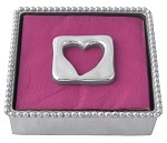 Mariposa Beaded Napkin Box with Open Heart Weight