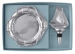 Mariposa Sailboat Bottle Stopper & Life Ring Wine Plate Set
