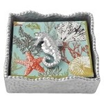 Mariposa Sue�o Napkin Box with Seahorse Weight