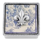 Mariposa Beaded Box with Fleur-de-Lis Weight