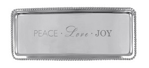 "Mariposa Silver-like Pearled/Beaded ""Peace Love Joy"" Inscribed Long Rectangle Tray"